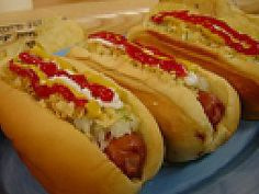 """Food Network invites you to try this Venezuelan Hot Dogs recipe from Ham on the Street. I never considered making hot dogs a """"recipe. Hot Dog Rolls, Hot Dog Buns, Hot Dogs, A Food, Good Food, Food And Drink, Yummy Food, Hot Dog Recipes, Snack Recipes"""