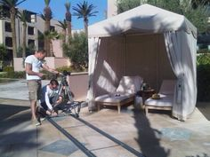 Using the shadow of the palm tree in the cabana set-up Four Seasons Marrakech, Cabana, Palm Trees, Baby Strollers, Palm Plants, Baby Prams, Strollers, Stroller Storage, Gazebo