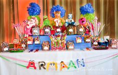 Check out the candy and dessert table for this awesome Muppets theme party! via @frostedevents Muppets TV Show- The Muppets Show- Muppets Party Birthday    #muppets muppet dessert table muppet candy bar muppet banner
