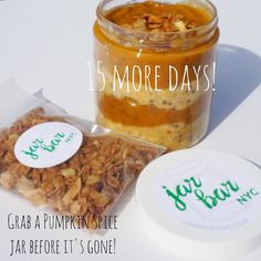 Our pumpkin spice jar is leaving our menu at the end of December! Get this deliciousness before it goes: jarbarnyc.com/shop #jarbarnyc