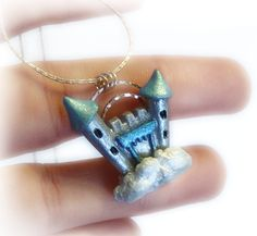Castle in the sky polymer clay pendant, fantasy necklace, fairytale jewelry, fantasy jewelry. €21.00, via Etsy.