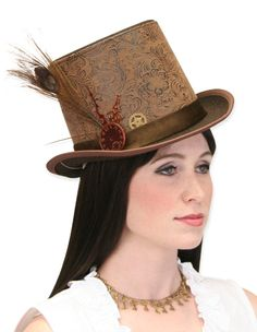 Steampunk Top Hat - Brown Faux Leather   Juli - Saw this on a website and thought you might like it :)