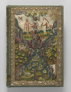 Bible and Book of Common Prayer - Metropolitan Museum of Art.  Adam and Eve in Eden  Date: ca. 1607 Culture: English Medium: Satin worked with silk and metal thread, spangles; long-and-short, split, satin, couching, brick, and knot stitches Dimensions: L. 13 1/2 x W. 9 1/4 inches (34.3 x 23.5 cm)