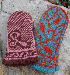 These mittens were inspired by a visit to the Shenandoah Valley in Virginia. We visited several vineyards full of coiling vines and plump with fruit.