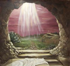 God blessings at the empty tomb of Jesus Christ drawing art color Christian religious photo