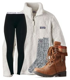 """Cozy outfit"" by artsycharrr ❤️ liked on Polyvore featuring Patagonia, Lands' End and Charlotte Russe"