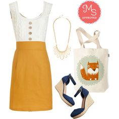 In this outfit: Come in Dandy Dress in Mustard, Opulent Outline Necklace, The Crowd Goes Wilderness Tote in Fox, Chance Encounters Wedge #cute #shiftdress #wedges #summer
