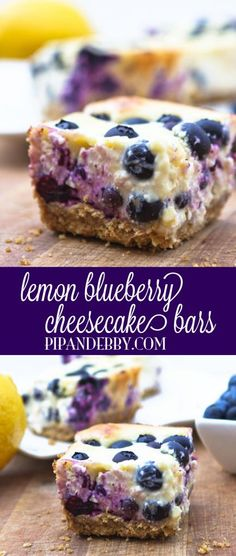 Lemon Blueberry Cheesecake Bars - lemons, blueberries and dropping to your knees, OH MY!