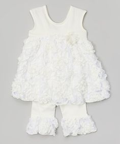 Loving this Cream Pie Dress & Ruffle Leggings - Infant, Toddler & Girls on #zulily! #zulilyfinds