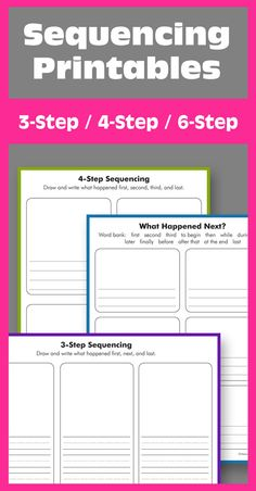 Free printables for 3-, 4-, and 6-step sequencing. Great for retelling, life cycles, and more. Meet Common Core Standards for Reading: Literature, Writing, and Speaking & Listening. RL.K.2, W.K.3, SL.K.5, RL.1.2, W.1.3, SL.1.5
