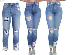 Promoted: Ripped Denim Jeans Caroline - The Sims 4 Raw Jeans, Denim Jeans, Ripped Denim, Denim Shirts, Raw Denim, Sims 4 Mods Clothes, Sims 4 Cc Kids Clothing, Children Clothing, Sims 4 Black Hair