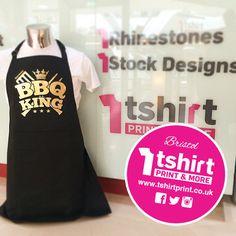 BBQ king apron design from t shirt print! Apron Designs, Shirt Designs, Shirt Print, T Shirt, Bbq King, Printed Shirts, Crafts, Tops, Women