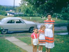 50's snapshot, mother daughter dresses