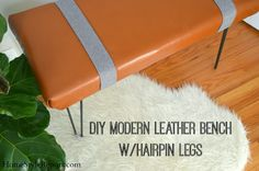 DIY Modern Leather Bench w/Hairpin Legs