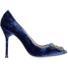 Manolo Blahnik Women 105mm Hangisi Swarovski Velvet Pumps ($1,145) ❤ liked on Polyvore featuring shoes, pumps, blue, high heeled footwear, high heel pumps, blue velvet shoes, blue high heel pumps and buckle shoes