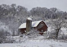 Red Barn in Winter by Nick Bristol