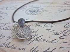Theodora Silver and Pearls Leather Charm Necklace by SimplyMim
