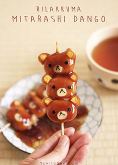 "The good old Japanese sweets ""Mitarashi Dango"" , Rilakkuma version! Enjoy the step-by-step instruction of how to create this cuteness."