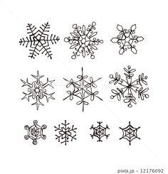 雪の結晶手描きイラスト