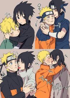 Naruto Kakashi, Naruto Shippuden Sasuke, Sasunaru, Anime Naruto, Naruto And Sasuke Kiss, Madara Susanoo, Naruto Teams, Naruto Comic, Naruto Cute
