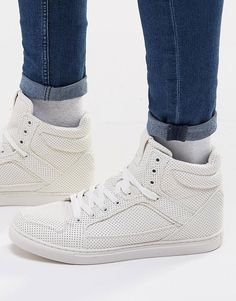 ASOS Hi-Top Trainers in White With Perforation saved by #ShoppingIS