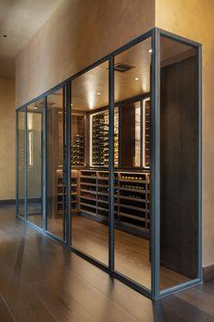 Glass Wine Cellar, Wine Glass Storage, Home Wine Cellars, Wine Cellar Design, Home Room Design, House Design, Wine Cellar Basement, Plan Chalet, Wine Tasting Room