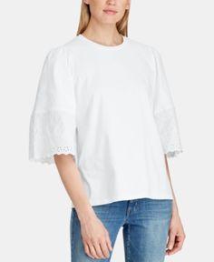 76147857e728d1 Lauren Ralph Lauren Lightweight Cotton Top - White XXL Bell Sleeve Top