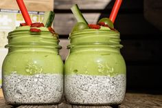green smoothie smash Chia Pudding, Superfood, Vegan, Smoothies, Mason Jars, Brunch, Mugs, Cream, Breakfast