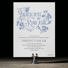 """Brides.com: . """"Wildflower"""" whimsical, hand-drawn blue-and-white floral illustrated wedding invitation with letterpress printing, starting…"""