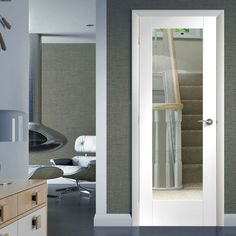 Internal Doors with Glass with toughened safety glass as standard. Including half glazed internal doors, frosted, glass panel doors in White, Oak. Internal Glazed Doors, White Internal Doors, Kitchen Door Designs, Kitchen Doors, Kitchen Ideas, Interior Shutters, Interior Barn Doors, Apartamento Shabby Chic, Primed Doors