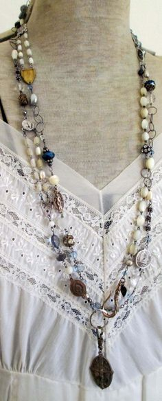 necklace by TheFrenchCircus on Etsy A way to use up lots of mismatched pieces.