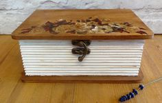 Floral Walnut Stained Wooden Box Decoupage Storage by SCWVintage