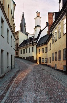 A cobbled street in the Old Town of Stockholm.