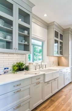 Kitchen renovation - The Best Cabinet Paint Colors for a Happier Kitchen, According to Interior Designers – Kitchen renovation Kitchen Cabinets Decor, Kitchen Cabinet Design, Modern Kitchen Design, Interior Design Kitchen, Kitchen Ideas, Grey Cabinets, Kitchen Cabinets Without Soffits, Upper Cabinets, Restroom Cabinets