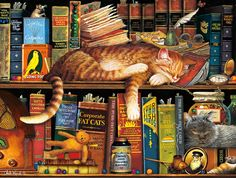 Buffalo Games Jigsaw puzzle. Cat Tales. Art by Charles Wysocki. Puzzle #97070. Cute cats on a bookshelf, nestling between books, a teddy bear, and other knick nacks. 750 pieces. Scrape marks on outside of inner box from box being sealed shut in the factory. Not visible when the box is closed. Completed one time on a puzzle board. Puzzle pieces hand counted while sealing in a cellophane bag. All pieces included. All original box and inserts included. Full returns accepted when received back to sh Buffalo Games, Colorful Artwork, Sleepy Cat, Cat Facts, New Art, Cats And Kittens, Cute Cats, Jigsaw Puzzles, Wooden Puzzles