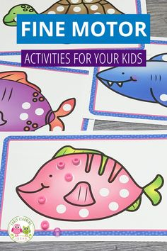 Use these free ocean-themed printables for fun fine motor activities. Ideas from bead placement to sticker and stamping activities are included. Perfect for learning at home, preschool, pre-k, occupational therapy classrooms. Kids can work on grasp and strength as they prepare for handwriting. The complete set has activities for fall, winter, spring, and summer. Use with tongs, tweezers, buttons.....lots of ideas are included. Pre Writing, Writing Skills, Sensory Activities, Literacy Activities, Activity Mat, Interactive Learning, Building For Kids, Early Literacy