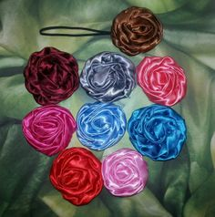 Satin rolled rose headband by GirlyMoments on Etsy, $3.50
