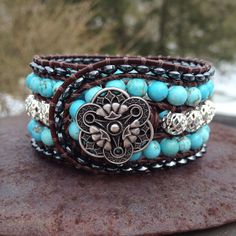 Turquoise and Silver Beaded Leather 5-Row Cuff Bracelet w/ Silver Button on Etsy, $65.00