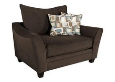 Casual Elegance. Our Casa chair delivers contemporary style pieces upholstered in two-tone espresso fabric. Toss pillows in half body fabric and half correlated fabric provide visual interest and adds a collection of color and pattern. The toss pillows are reversible which doubles the life of the fabric and allows for easy care. Welted seat and back cushions are reversible and zippered for easy maintenance. Deep seating provides plenty of seating room and comfort, while 1.8 foam density seat…