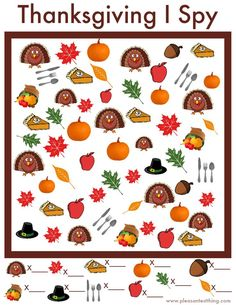 I Spy Game – Free Printable Free printable game for Thanksgiving - use this Thanksgiving I Spy Game while the food is cooking!Free printable game for Thanksgiving - use this Thanksgiving I Spy Game while the food is cooking! Thanksgiving Coloring Pages, Thanksgiving Preschool, Thanksgiving Parties, Thanksgiving Ideas, Thanksgiving Worksheets, Thanksgiving Cookies, Fall Preschool, Holiday Parties, Holiday Fun
