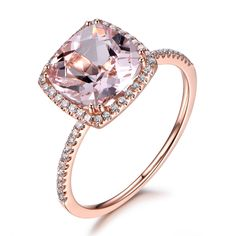 9mm Cushion Cut 3ctw Pink Morganite Ring 0.32ct Diamonds Ring Engagement Ring