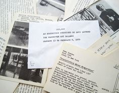 : an Exhibition Organized by Lucy Lippard, The Vancouver Art Gallery, January 13 to February