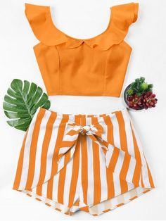 Ruffle Striped Shorts Two Piece Set - Dark Orange S Cool Summer Outfits, Cool Outfits, Casual Outfits, Fashion Outfits, Dress Casual, Latest Fashion For Women, Trendy Fashion, Womens Fashion, Style Fashion
