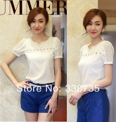 cool Style ladies 2014 Chiffon clothing Top quality summer time short-sleeve whitened ladies blouses Openwork beaded V-neck ribbons blouses S-XXL