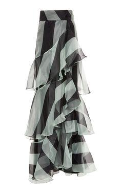 Exclusive Pico Basile Silk Organza Skirt by Johanna Ortiz Stripe Skirt, Ruffle Skirt, Dress Skirt, Pink Prom Dresses, Gala Dresses, Long Skirt Outfits For Summer, Silk Organza, Designer Dresses, Fashion Outfits