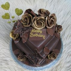 Happy Birthday Happy Birthday Emoji, Happy Birthday Wishes Quotes, Happy Birthday Cakes, Birthday Greetings, Chocolate Roses, Cake Images, Rose Cake, Happy B Day, Birthday Board