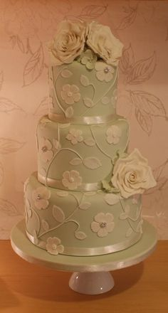 Mint green wedding cake Okay I know this is a little old fashion but I think its beautiful!