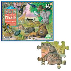 Meet and learn the exotic wild animals of African savanna and jungle on this frame-worthy picture puzzle! Manufactured by eeBoo. Recommended for 8 years, 9 years, 10 years+.