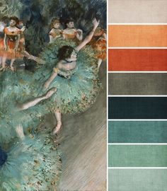 Collar Palette - Teal tones with a contrast of orange tones. Four main colors: beige, orange, blue, and blue-green.