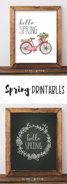 Very cute printable for spring decor! Can't wait to refresh my space! Love these. #farmhousedecor #printables #hellospring